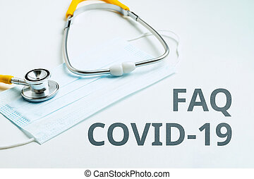 Answers and questions concept FAQ COVID-19 and doctor consultation