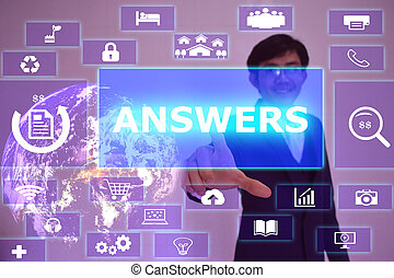 ANSWERS concept  presented by  businessman touching on  virtual  screen ,image element furnished by NASA