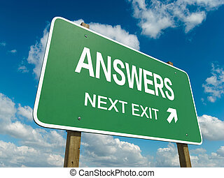 answers - road sign to answers with blue sky