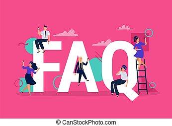 answers., gens, questions, questions, vecteur, aide, demandé, smartphones, illustration, question, faq., trouver, frequently, demander