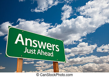 Answers Green Road Sign - Answers, Just Ahead Green Road ...