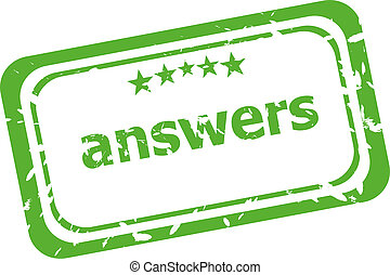 answers grunge rubber stamp isolated on white background