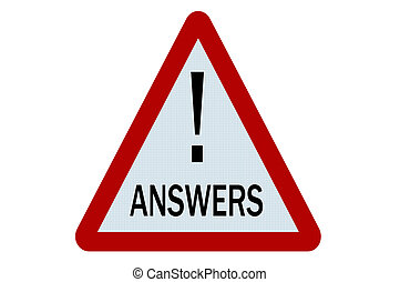 Answers sign illustration on white background