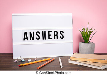 Answers. Survey, customer service and knowledge concept
