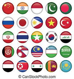 antárctico, e, russo, bandeiras, redondo, botões