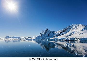 antártica, baía, paraisos