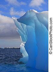 antártica, iceberg, luminescent, luz solar