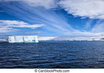 antártica, iceberg, paisagem