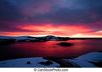 antártica, pôr do sol