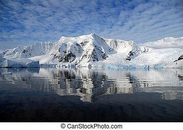 antártica, reflexão, mar
