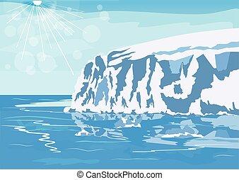 antártico, iceberg, nieve