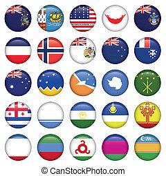 antártico, y, ruso, banderas, redondo, botones