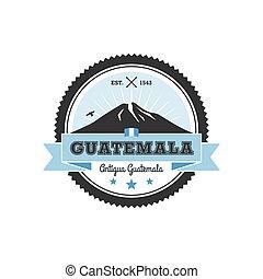 antígua guatemala, emblema, com, vulcão, agua., remendo