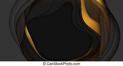 antílope, arte, ouro, abstratos, desfiladeiro, papel, sparkles., esculpindo, paisagem., corte, coloridos, forma., flyers., 3d, apresentações negócio, escuro, arte, fundo, minimalistic, vetorial, desenho