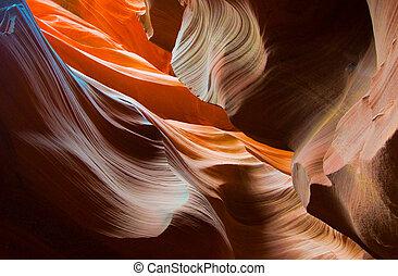 antílope, estados unidos de américa, arizona, formas, cañón, abstact