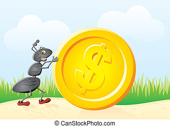 Ant and coin - Small ant rolling big gold dollar coin
