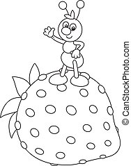Ant and Strawberry - Black and white vector illustration of...