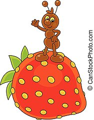 Ant and Strawberry - Vector illustration of a small brown...