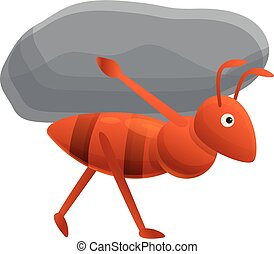 Ant carry stone icon, cartoon style