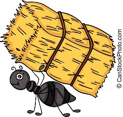 Ant carrying a bale of hay