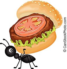 Ant carrying a burger