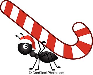 Ant carrying a Christmas candy cane.