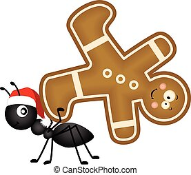 Ant carrying a Christmas man cookie