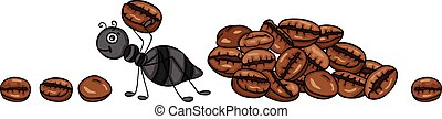 Ant carrying a coffee bean - Scalable vectorial representing...