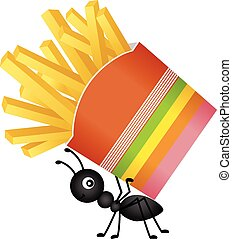 Ant carrying a french fries