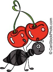 Ant carrying a love cherry
