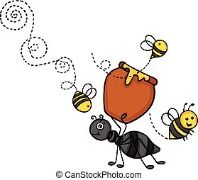 Ant carrying a pot of honey with bees
