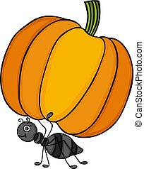 Ant carrying a pumpkin