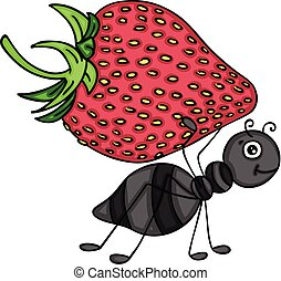 Ant carrying a red strawberry