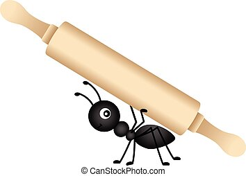 Scalable vectorial image representing a ant carrying a rolling pin, isolated on white.