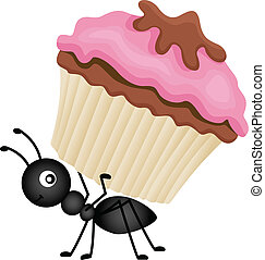 Ant Carrying Cupcake - Scalable vectorial image representing...