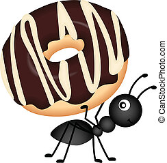 Scalable vectorial image representing a ant carrying donut, isolated on white.