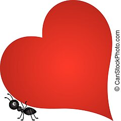 Ant carrying red heart - Scalable vectorial image...