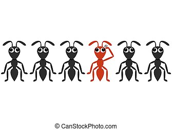 Black ant cartoon characters row with red one