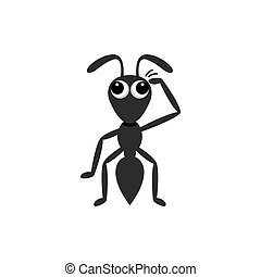 Confused ant cartoon scratching his head vector illustration