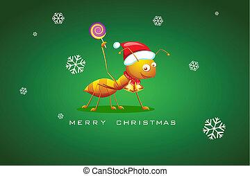 Ant celebrating Christmas