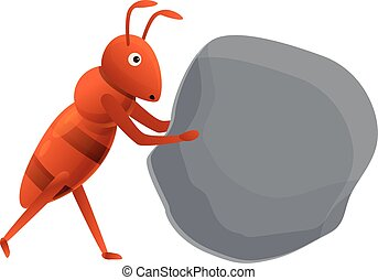 Ant find stone icon, cartoon style