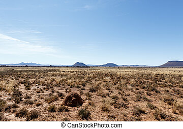 Ant hill with Mountains, blue sky and yellow fields - Cradock
