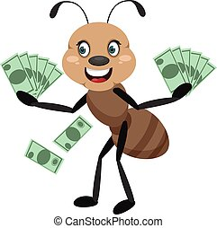 Ant holding money, illustrator, vector on white background.