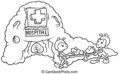 Ant Hospital - Black and White Cartoon illustration, Vector