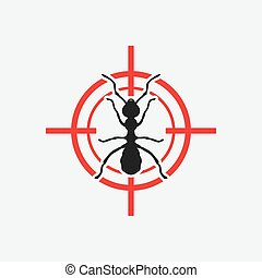 ant icon red target - vector illustration. eps 8