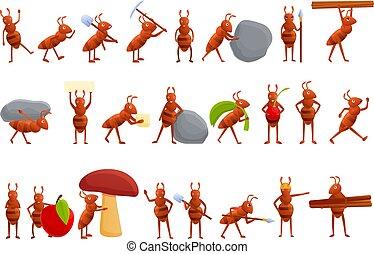Ant icons set, cartoon style