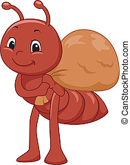 Mascot Illustration Featuring an Ant Carrying a Sack