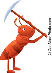 Ant pickaxe icon, cartoon style