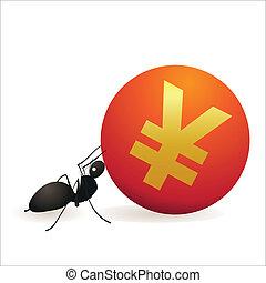 Ant pushing big symbol of Yuan