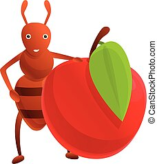 Ant red apple icon, cartoon style
